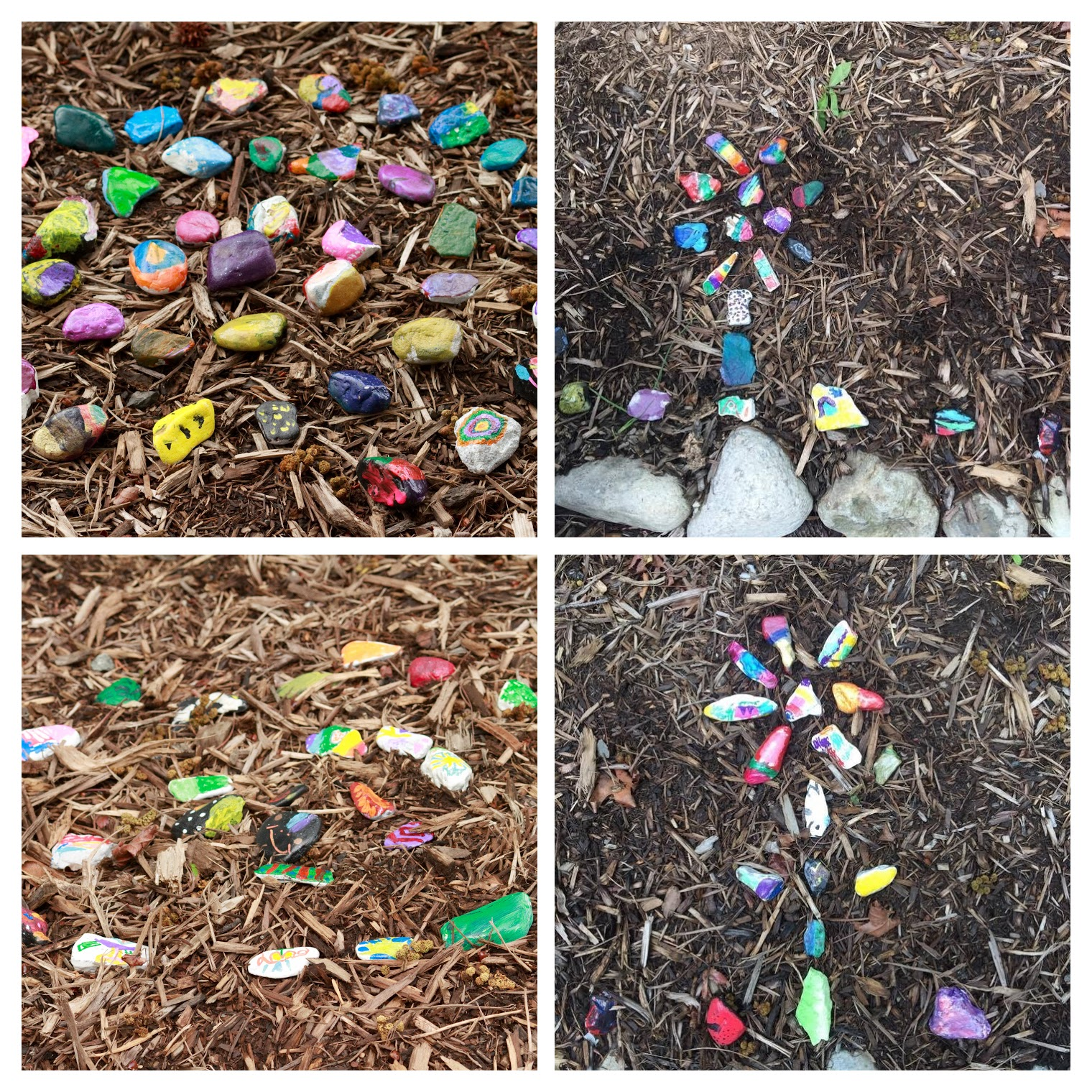 Painted Rocks Lining a Garden Path