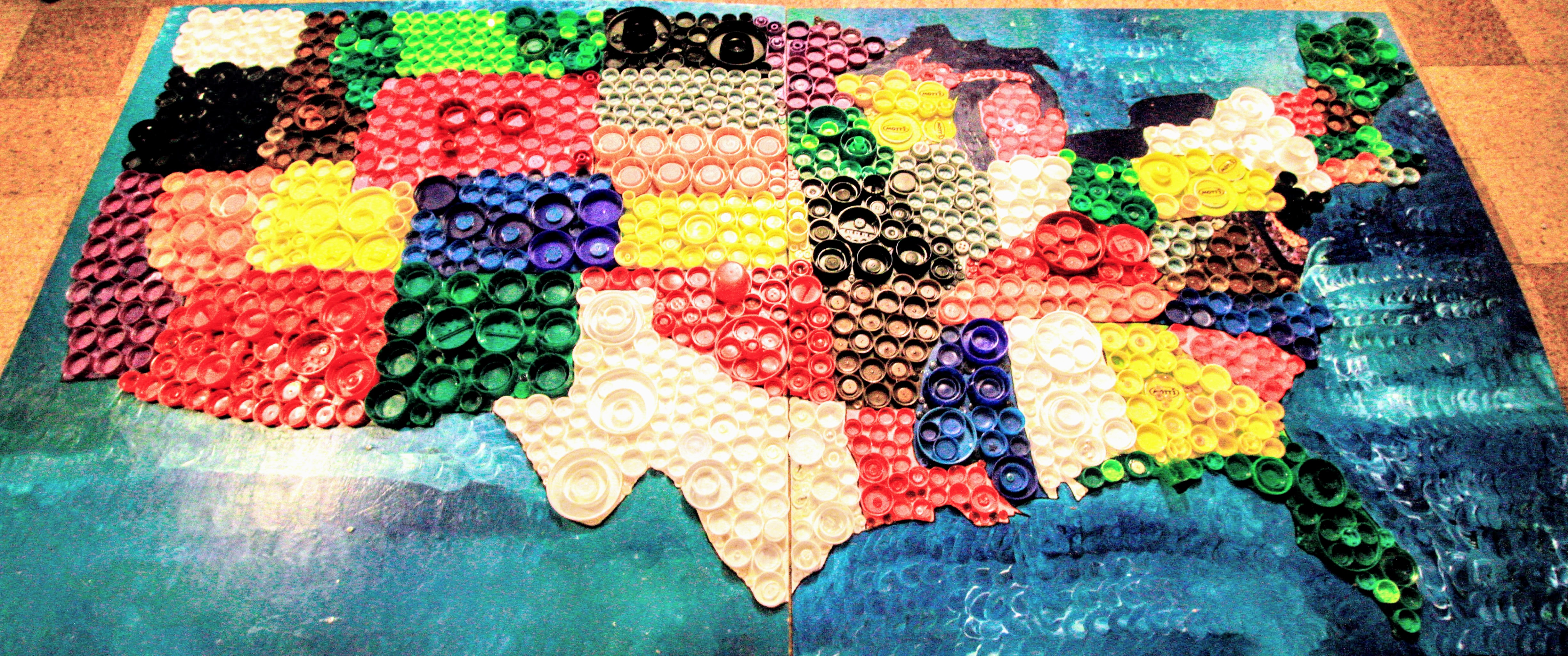 Celebrating the Completion of the USA Bottle Cap Mural